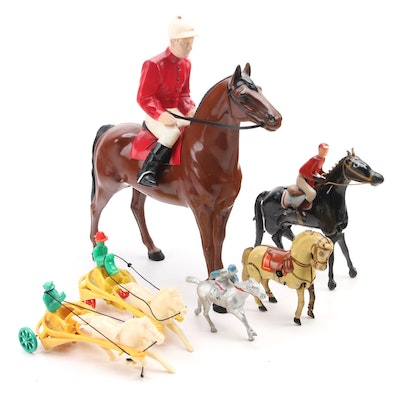 Wind-Up Tin Litho, Diecast Metal, and Plastic Toy Horses and Riders, Mid-20th C.