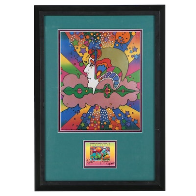 Peter Max Offset Lithograph and Signed Commemorative Postage Stamp