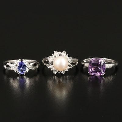 Sterling Gemstone Rings Including Amethyst, Pearl and Tanzanite