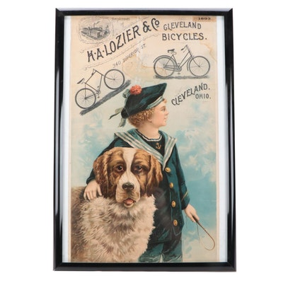 H.A. Lozier & Co. Cleveland Bicycles Framed Chromolithograph Poster