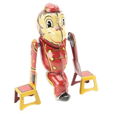"""Marx """"Tumbling Monkey"""" Wind-Up Tin Litho Mechanical Toy, Mid-20th Century"""