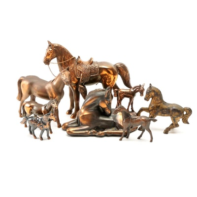 Cast Bronze Horse Figurines with Cast Iron Horse Form Still Bank