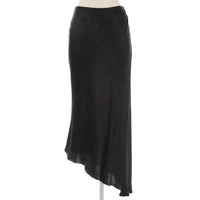 Emanuel Ungaro Bias-Cut Black Silk Skirt  with Asymmetrical Hemline