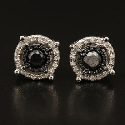 Sterling Diamond Halo Earrings