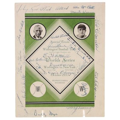 1933 Washington Baseball Team Signed World Series Train Menu