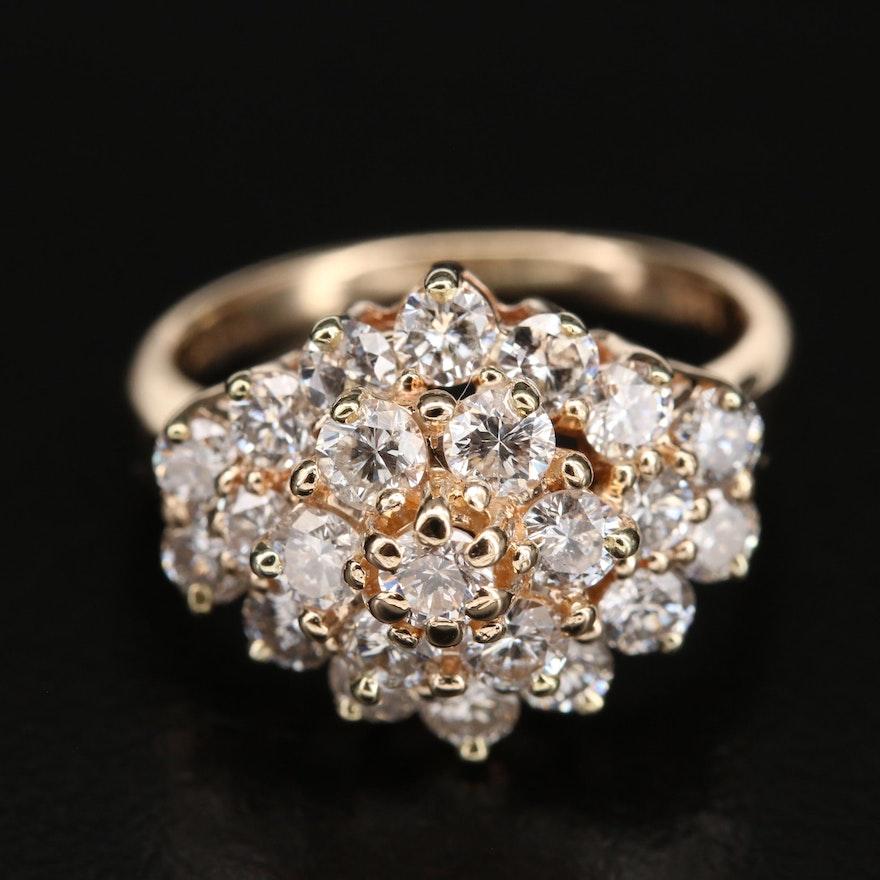 14K 2.00 CTW Diamond Cluster Ring