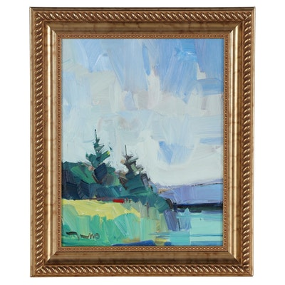"Jose Trujillo Oil Painting ""Pine Morning,"" 2021"