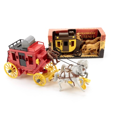 """Tim Mee Toy """"Wild West Playset"""" with Other Toy Stage Coach, Mid to Late 20th C."""