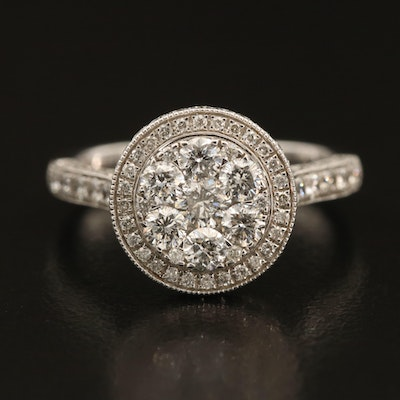 14K 1.60 CTW Diamond Cluster Ring with Halo