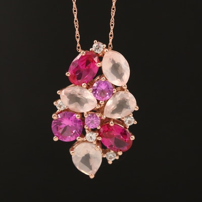 10K Rose Gold Rose Quartz, Ruby, White and Pink Sapphire Pendant Necklace
