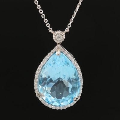 14K 38.05 CT Sky Blue Topaz and Diamond Halo Drop Pendant Necklace