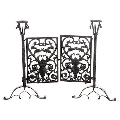Cast Iron Andirons with Attached Fireplace Screen