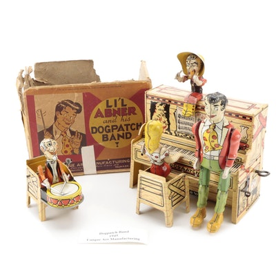 """Unique Art """"Li'l Abner and his Dog Patch Band"""" Tin Litho Wind-Up Toy, circa 1945"""