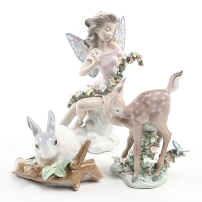 """Lladró """"Fairy Flowers"""", """"Hi There"""", and """"Rabbit Eating"""" Porcelain Figurines"""