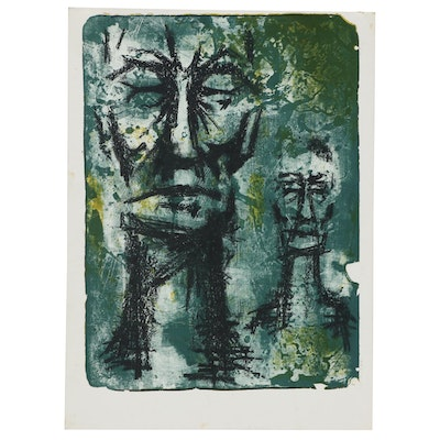 Abstract Figural Monoprint, Mid-20th Century