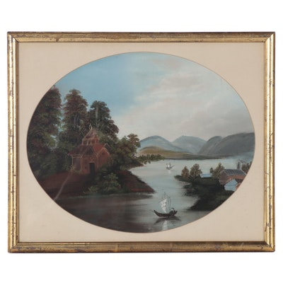 Lake Landscape Oil Painting, 20th Century