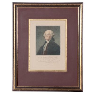"Stipple Engraving After C. G. Stuart ""Geo. Washington Esq.,"" 1798"