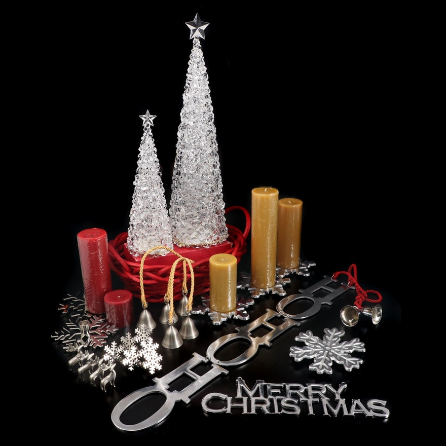 Illuminated Acrylic Christmas Trees, Snowflake and Other Christmas Décor