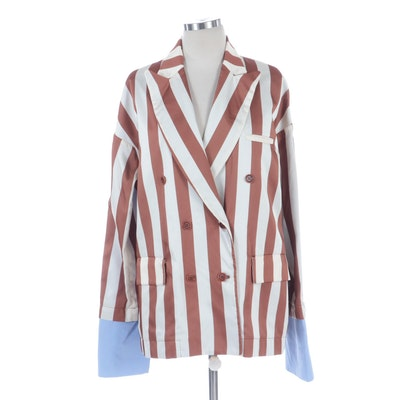 Jejia Striped Double-Breasted Blazer with Oversized Cuff Detail