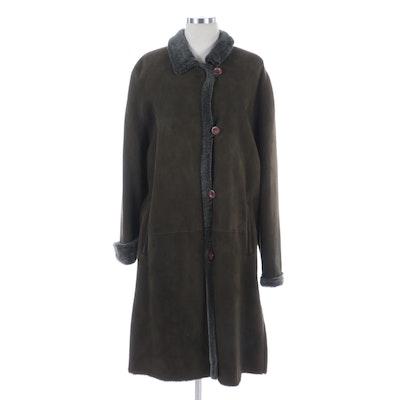 Bisang Button-Down Coat in Green Shearling Lambskin