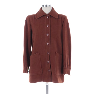 Rust Wool Button-Front Jacket
