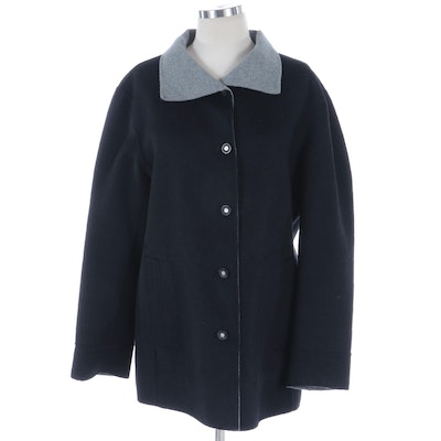 Reversible Button-Front Jacket in Bicolor Double-Faced Cashmere Blend