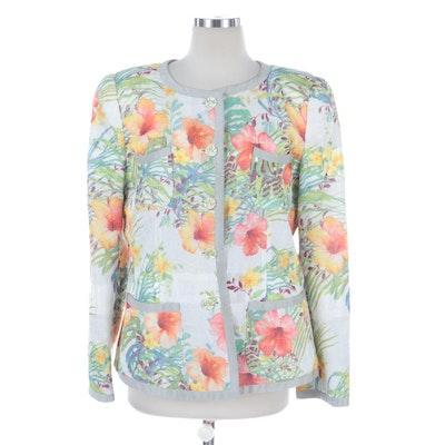 Armani Collezioni Hibiscus Floral Print Jacket with Metallic Flecks