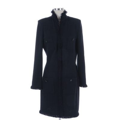 St. John Collection Black Knit Long Jacket