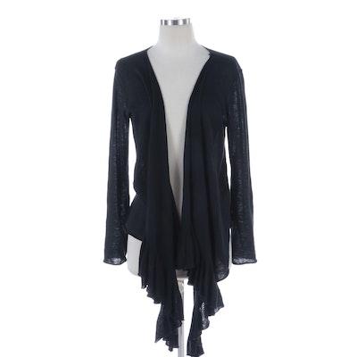 Donna Karan New York Draped Ruffle Sweater in Black Linen