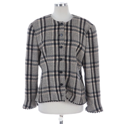 Giorgio Armani Black and Beige Check Wool Jacket