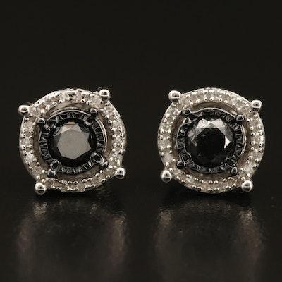 Sterling 0.89 CTW Diamond Halo Stud Earrings
