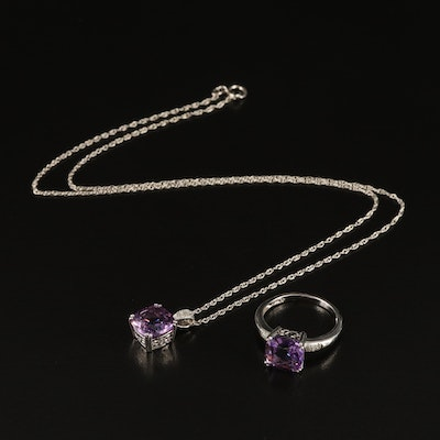 Sterling Amethyst and Diamond Ring and Pendant Necklace