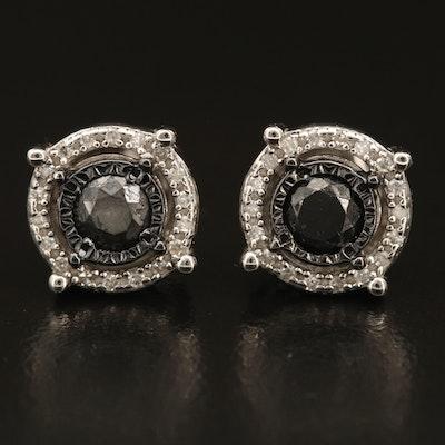 Sterling 0.87 CTW Diamond Halo Stud Earrings