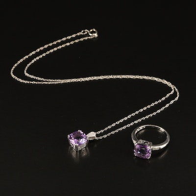 Sterling Amethyst and Diamond Ring and Pendant Necklace Set