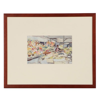 Emma Mendenhall Watercolor Painting of Market, Mid-20th Century