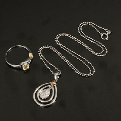 Sterling Love Knot Ring and Teardrop Pendant Necklace with 14K Accent