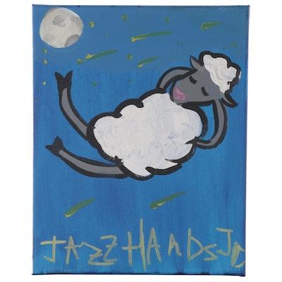 "Jazz Hands Jo Folk Art Acrylic Painting ""Wool Cloud"""