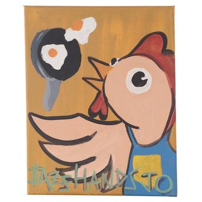 "Jazz Hands Jo Folk Art Acrylic Painting ""Chicken or Egg?"""