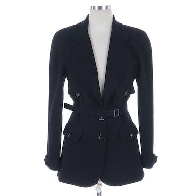 Chanel Black Wool Belted Blazer