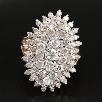 14K 3.34 CTW Diamond Navette Cluster Ring