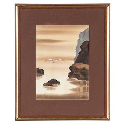 Sudinski Coastal Landscape Watercolor Painting