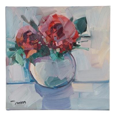 """Jose Trujillo Still Life Oil Painting """"Roses,"""" 2021"""