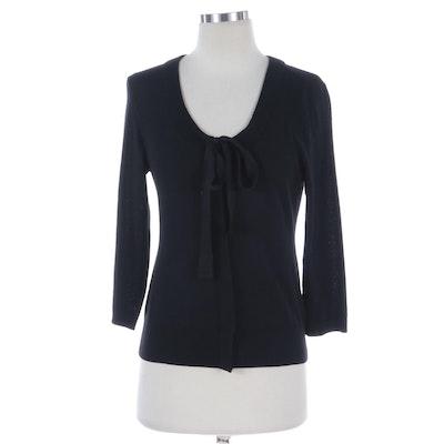 Donna Karan New York Bow Front Sweater in Black Merino Wool