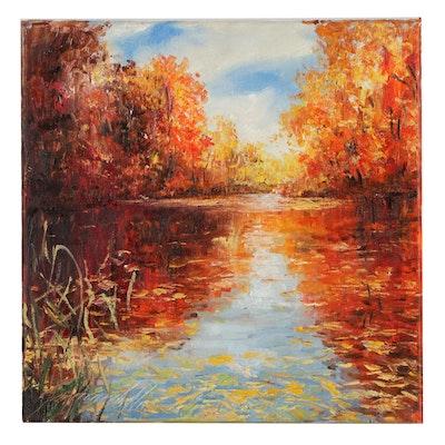 "Garncarek Aleksander Oil Painting ""Jesieni,"" 2021"