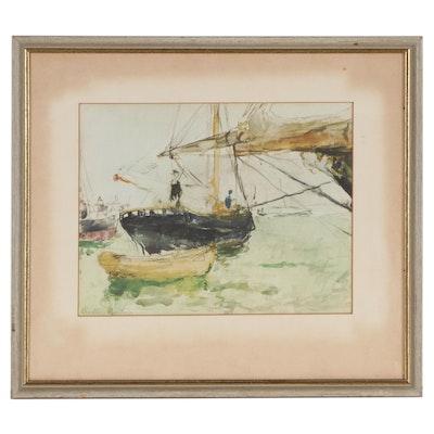 """Offset Lithograph After Berthe Morisot """"Aboard a Yacht"""""""