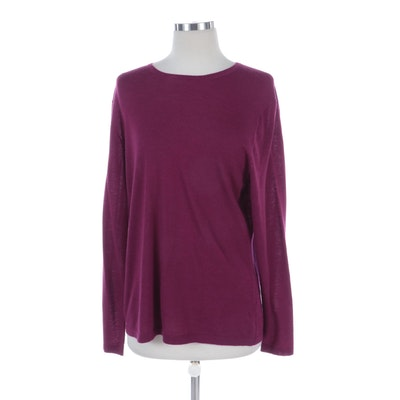 Neiman Marcus Cashmere Light Sweater in Berry