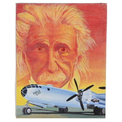 Montage Acrylic Painting of Enola Gay Bomber Plane and Albert Einstein