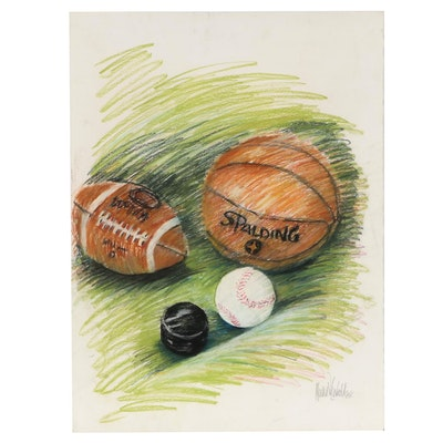 Sports-Themed Pastel Drawing, 1986