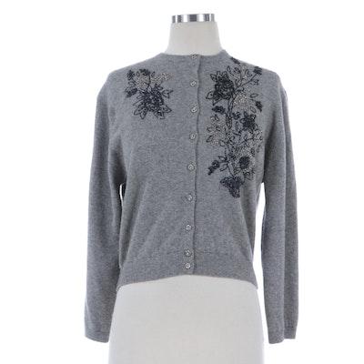 Schiaparelli Beaded Cashmere Cardigan Sweater, 1950s