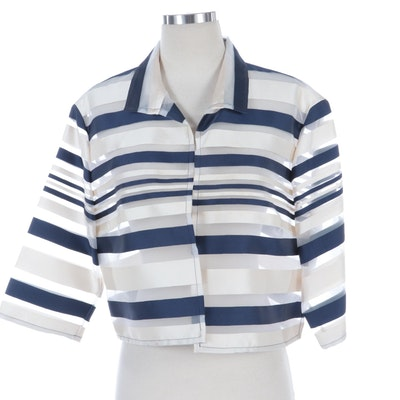 Lafayette 148 New York Navy and Ivory Striped Cropped Jacket